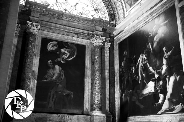 Il trittico di San Matteo del Caravaggio nella Cappella Contarelli, chiesa di San Luigi dei Francesi, pizza Navona, Roma.